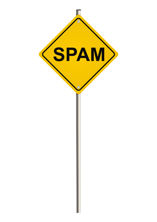 Spam. Yellow road sign. Raster. photo