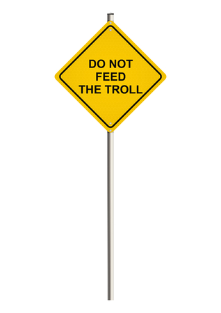 slang: Internet trolling. Road sign. Raster.