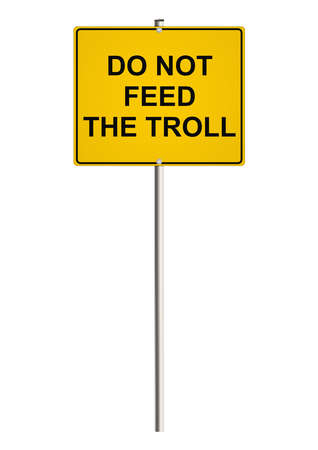 trolling: Internet trolling. Road sign. Raster.