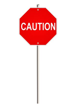 risky situation: Caution. Road sign. Raster.