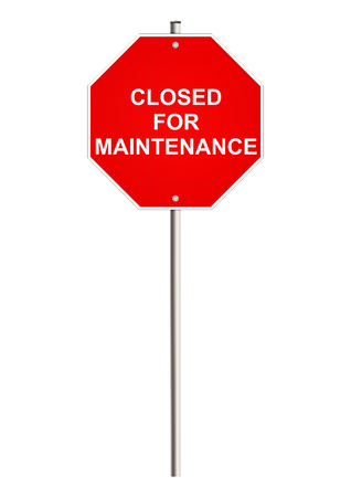 road closed: Closed for maintenance. Road sign. Raster. Stock Photo
