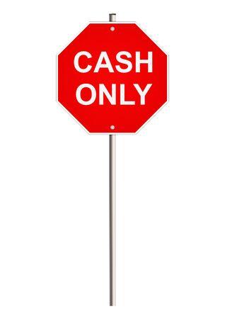 singpost: Cash. Road sign. Raster. Stock Photo