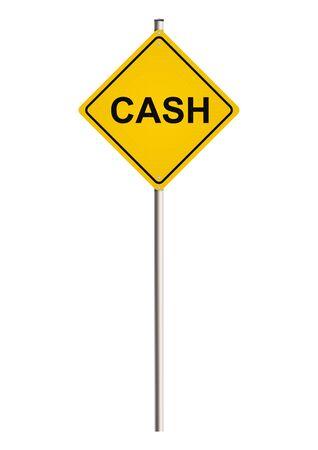 Cash. Road sign. Raster. Stock Photo