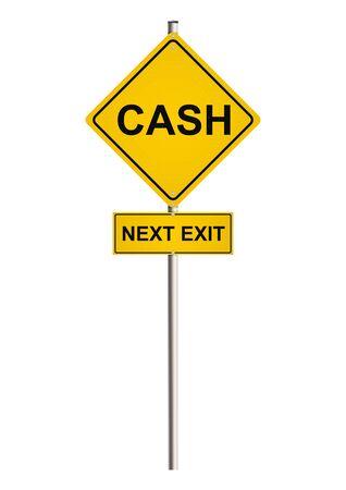 Cash. Road sign. Raster. Foto de archivo
