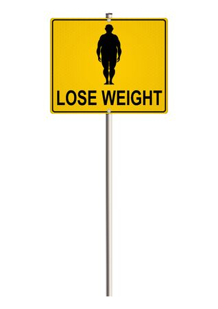 overeating: The problem of obesity. Road sign on a white background. Raster.
