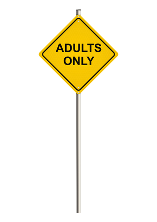 pornography: Adults only. Road sign. Raster.