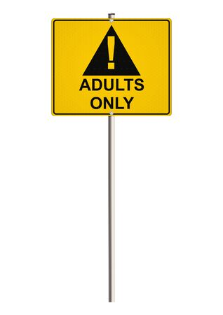 entrance is forbidden: Adults only. Road sign. Raster.