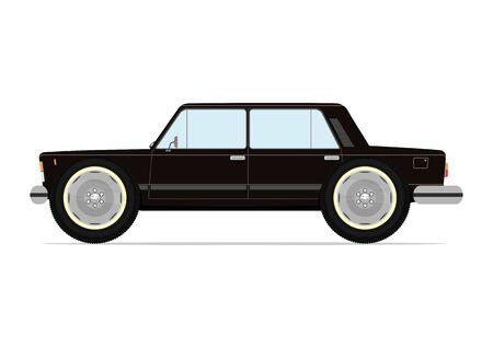 sedan: Funny sedan on big wheels. Vector illustration on white background. Illustration