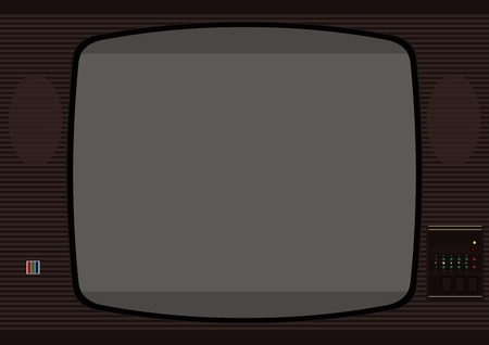 eighties: Television. The frame in the style of an old TV from the eighties. Vector without gradients.
