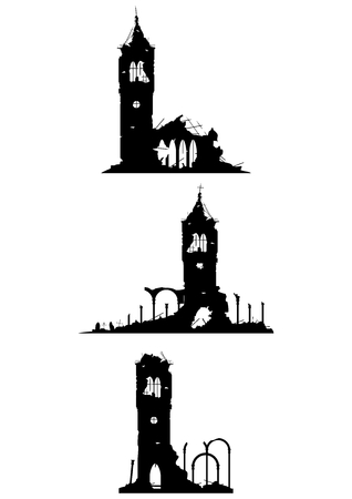 The ruins of churches or castles on a white background. Vector without gradients. Vectores