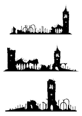 教会や白い背景の上の城の遺跡。グラデーションなしベクトル。  イラスト・ベクター素材