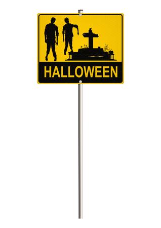 Halloween road sign. Screen photo
