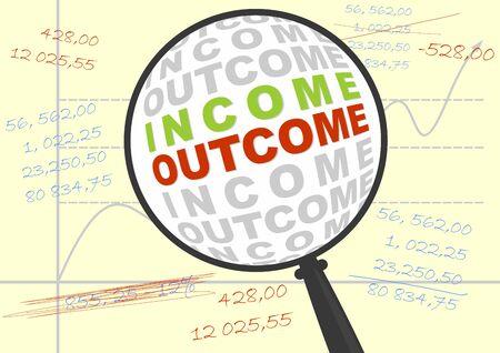Los ingresos y el resultado en una lupa. Ilustración de negocio. Vector sin degradados.