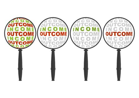 outcome: Income and outcome in a magnifying glass. Business illustration. Vector without gradients.