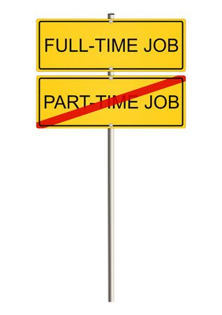 flexible business: Part Time Job. Road sign.
