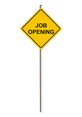 Job opening. Road sign on the white background.
