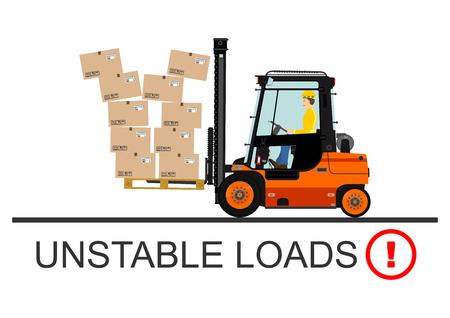 Forklift veiligheid. Vector illustration zonder hellingen op een witte achtergrond.