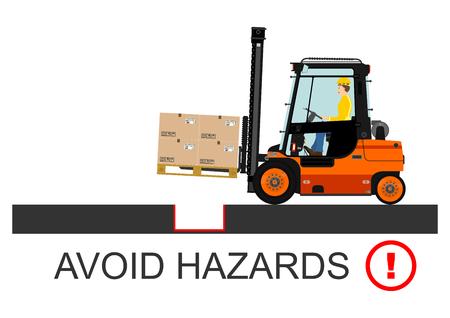 lift truck: Seguridad del montacargas. Ilustraci�n vectorial sin gradientes en un fondo blanco.