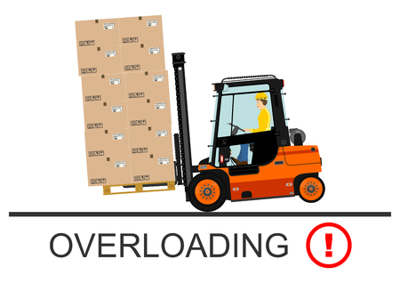 industrial danger: Forklift safety. Vector illustration without gradients on a white background.