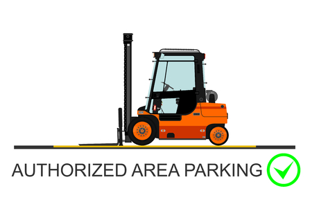 elevator operator: Forklift safety. Vector illustration without gradients on a white background.