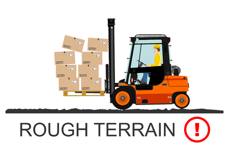 danger: Forklift safety. Vector illustration without gradients on a white background.