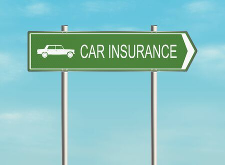 accident rate: Road sign with the issue of insurance on the sky background. Raster illustration.