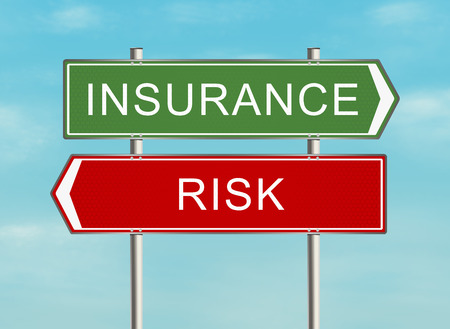 Road sign with the issue of insurance on the sky background. Raster illustration.