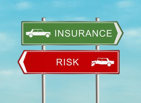 醫療保健: 路標保險的天空背景的問題。光柵插圖。