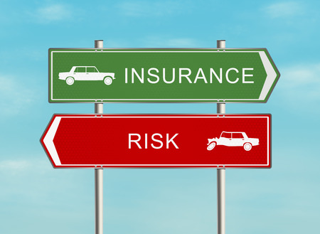 insurance concepts: Road sign with the issue of insurance on the sky background. Raster illustration.