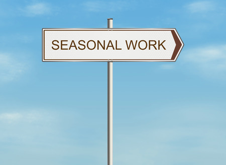 job advertisement: Seasonal work. Road sign on the sky background. Raster illustration.