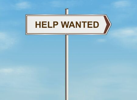 Help wanted. Road sign on the sky background. Raster illustration.
