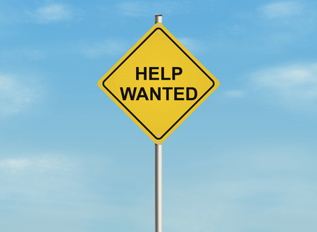 help wanted: Help wanted. Road sign on the sky background. Raster illustration.