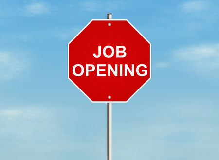 job opening: Job opening. Road sign on the sky background. Raster illustration. Stock Photo