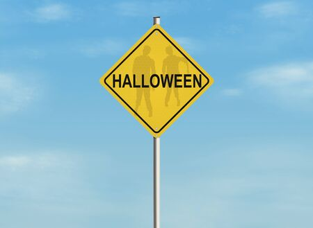 monster movie: Halloween road sign on the sky background. Stock Photo