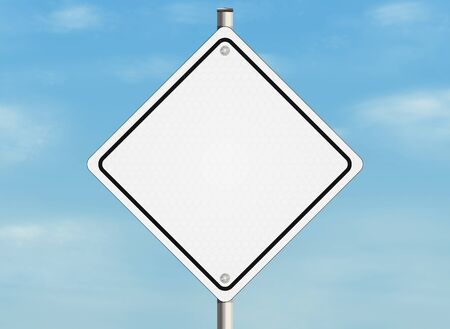 oppertunity: Empty road sign on the sky background. Stock Photo