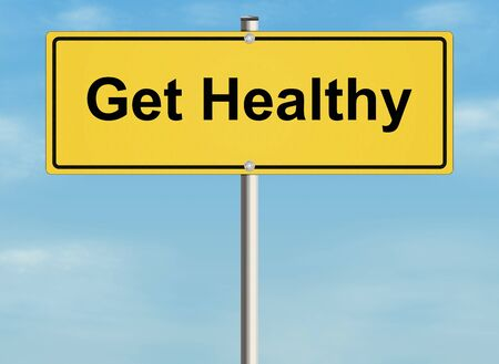 oppertunity: Get healthy. Road sign on the sky background. Raster illustration. Stock Photo