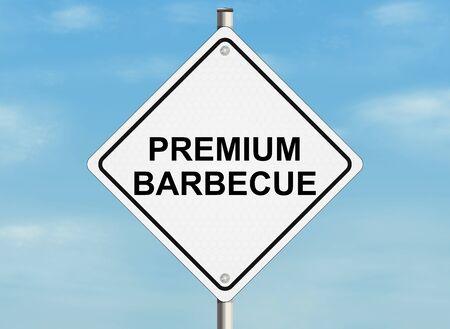 raster illustration: Barbecue. Road sign on the sky background. Raster illustration.