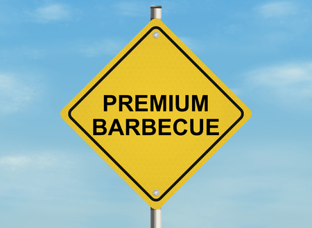 cuisine entertainment: Barbecue. Road sign on the sky background. Raster illustration.