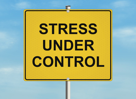 relieve: Stress. Road sign on the sky background. Raster illustration.