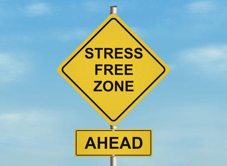 ストレス。空の背景に道路標識。ラスターの図。 写真素材