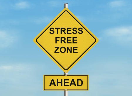 Stress. Road sign on the sky background. Raster illustration.