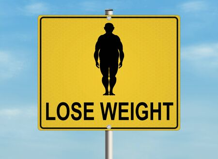 obesity: A road sign with the issue of obesity and proper weight on the sky background. Raster illustration. Stock Photo