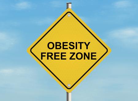 obesidad: Una señal de tráfico con el tema de la obesidad y el peso adecuado en el fondo del cielo. Ilustración de la trama.