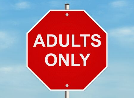 only adults: Adults only. Road sign on the sky background. Raster Stock Photo