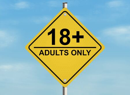 adults only: Adults only. Road sign on the sky background. Raster Stock Photo