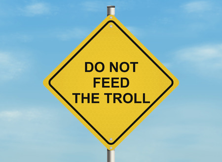 troll: Internet troll issue. Road sign on the sky background. Raster