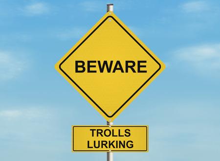 Tema Troll de Internet. Muestra de camino en el fondo del cielo. Raster Foto de archivo - 42690113