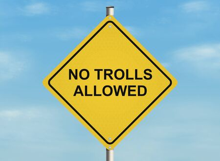 trolling: Internet troll issue. Road sign on the sky background. Raster