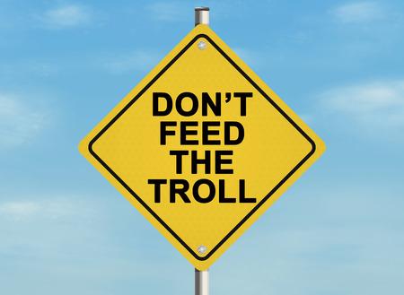 インターネット トロール問題。空の背景に道路標識。ラスター 写真素材
