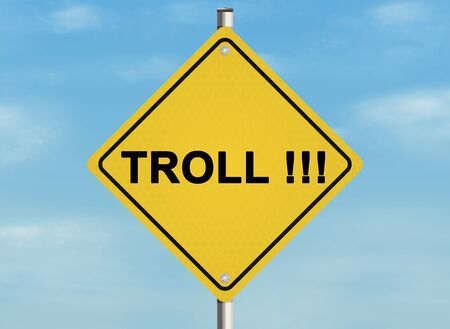 slang: Internet troll issue. Road sign on the sky background. Raster